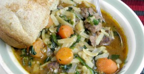 beef soup with popover