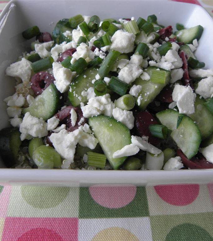 Quinoa Edamame Feta Salad