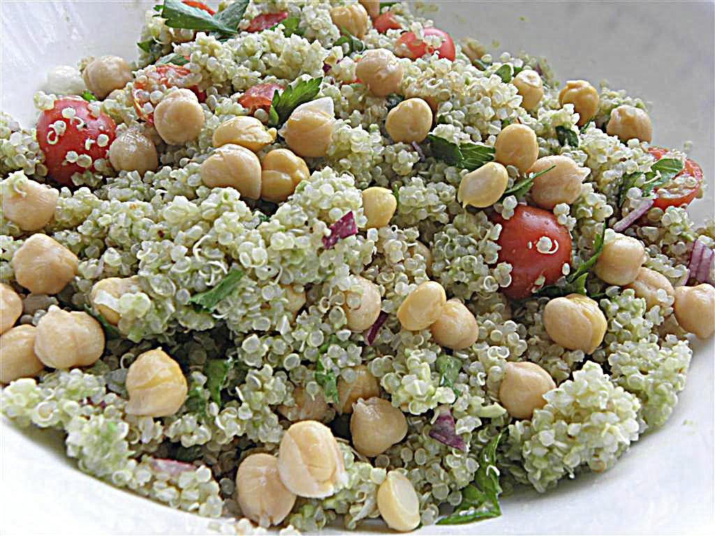 Quinoa Chickpea Salad with Avocado Dressing