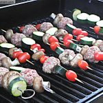 Grilled Turkey Meatball Kabobs with Balsamic Glaze