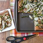 Roasted Asparagus Mushroom Onion Whole Wheat Pizza