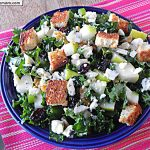 Raw Kale Pear Blue Cheese Salad with Lemon Vinaigrette