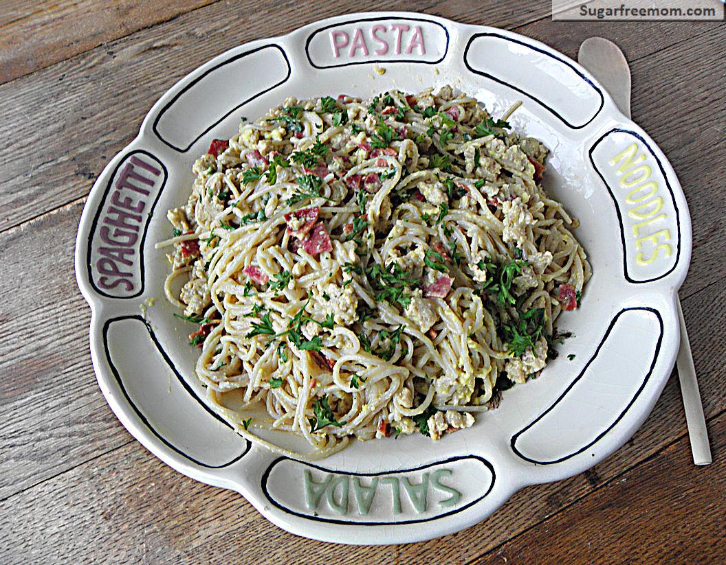Lightened Up Spaghetti alla Carbonara with Chicken