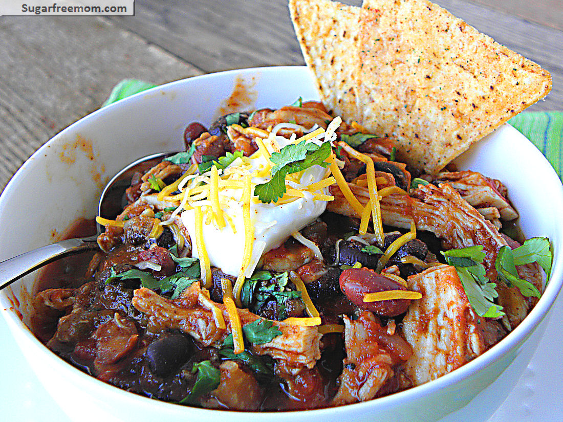 Low Fat Crock Pot Chicken Taco Chili