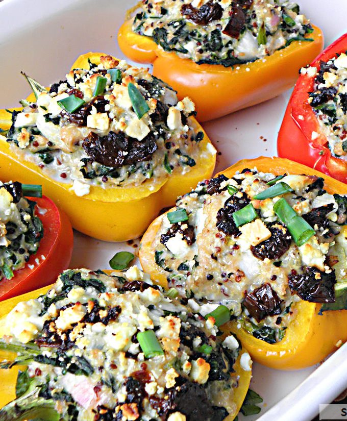 Greek Style Quinoa Chicken Stuffed Peppers