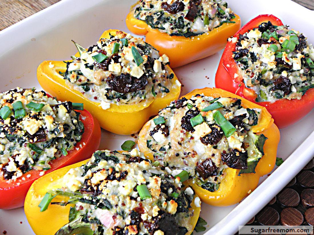 Greek Style Quinoa Chicken Stuffed Peppers