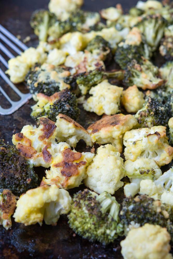 Oven Fried Parmesan Broccoli Cauliflower Florets