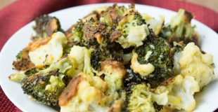 Oven Fried Parmesan Broccoli & Cauliflower Florets