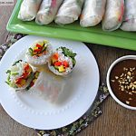 Fresh Veggie Spring Rolls (Nim Chow) with Honey Peanut Hoisin Sauce