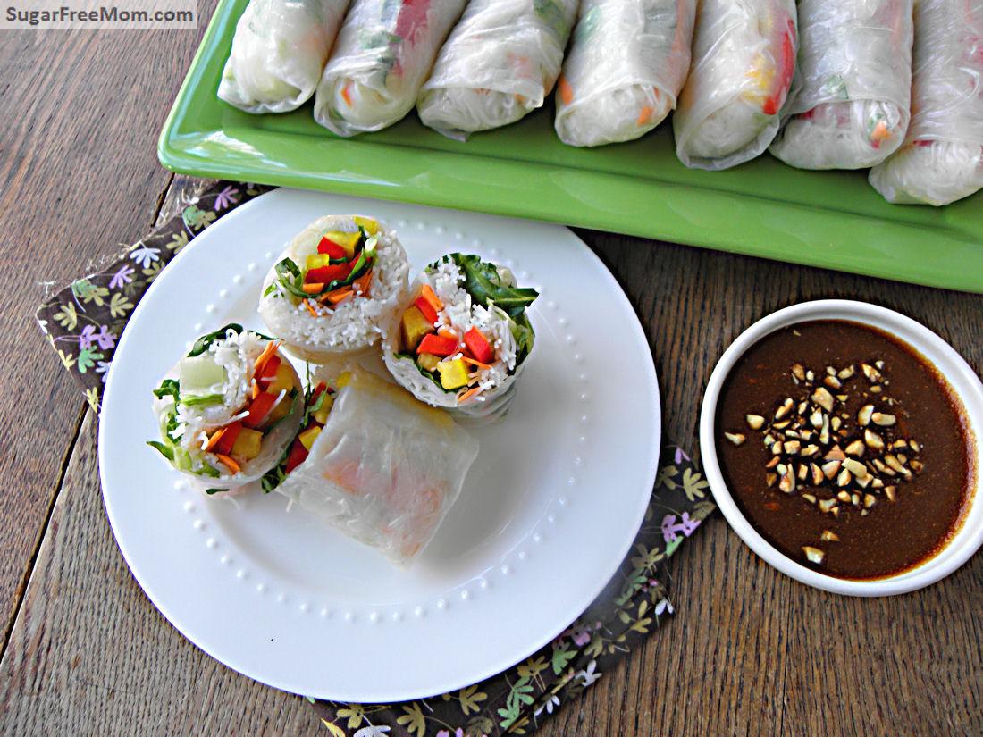 Fresh Veggie Spring Rolls Nim Chow With Honey Peanut Hoisin Sauce