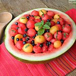 Watermelon Cantaloupe Berry Mint Salad with Honey Vinaigrette
