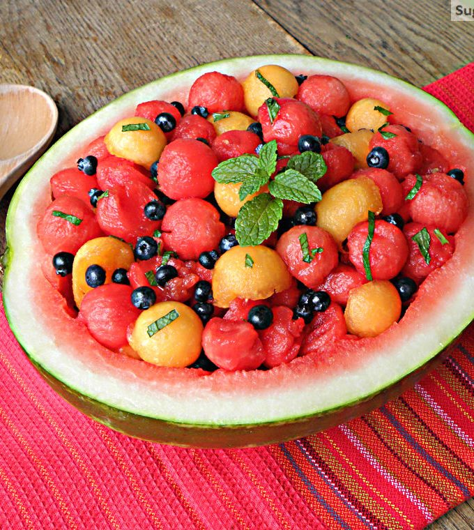 Watermelon Cantaloupe Berry Mint Salad with Honey Vinaigrette
