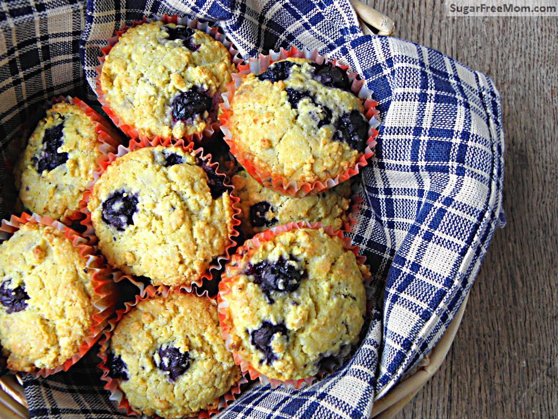 Blueberry Buttermilk Corn Muffins {No Sugar Added, Gluten Free}