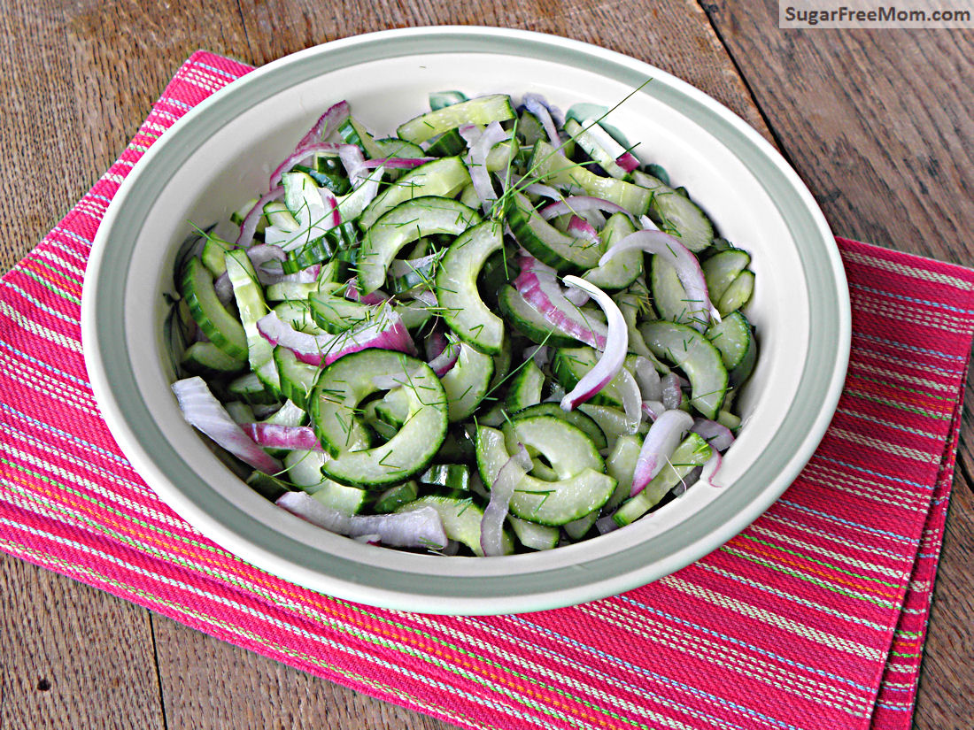 Cucumber Dill Salad with No Sugar Added Dressing