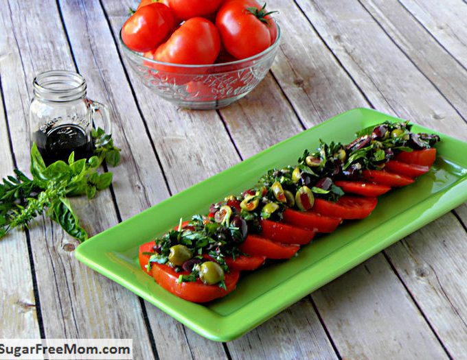 Tomato Olive Salad with Balsamic Syrup