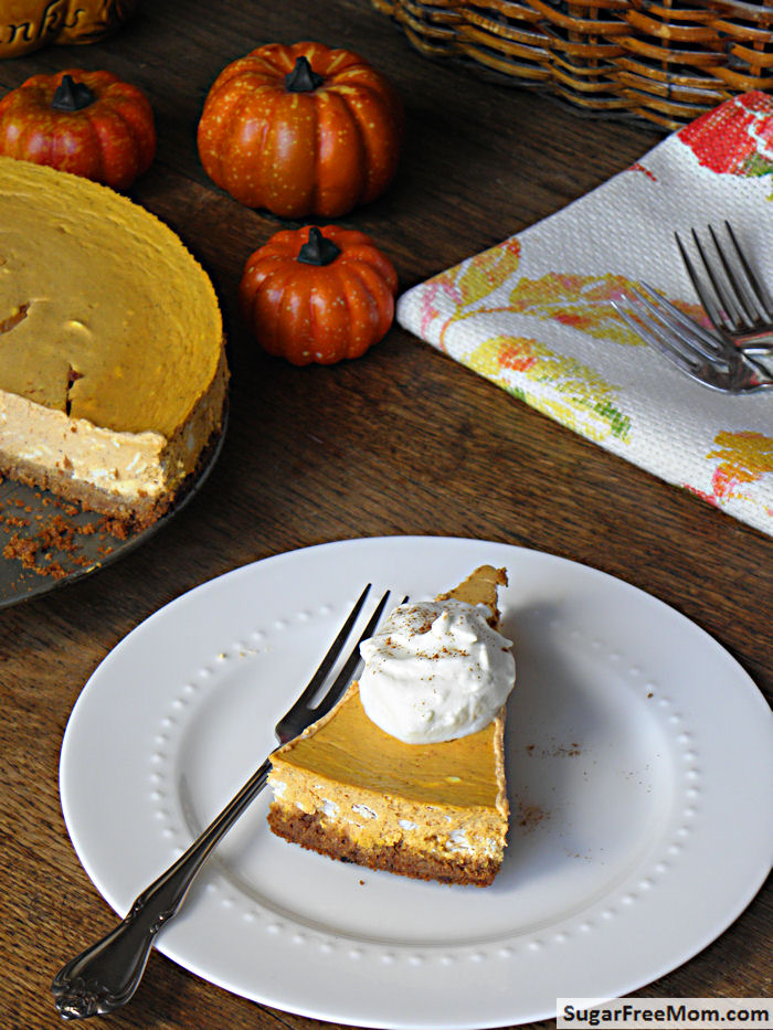 Lightened Up Gluten Free Pumpkin Cheesecake {No Added Sugar}