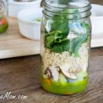 Mason Jar Quinoa Spinach Salad with Arugula Pesto