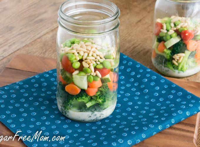 Mason Jar Broccoli Salad with Honey Yogurt Dressing