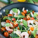 Wilted Kale Shrimp Zucchini Noodle Salad