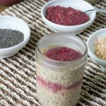 Peanut Butter & Jelly Refrigerator Chia Oats { No Sugar Added, Dairy Free}