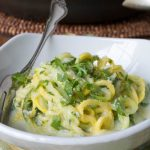 Lightened Up Alfredo Sauce with Zucchini & Yellow Squash Noodles