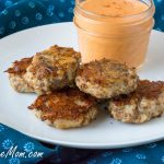 Oven Fried Cheesy Chicken Nuggets with Creamy Roasted Red Pepper Sauce