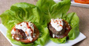 Beef Zucchini Burgers with Feta Sauce
