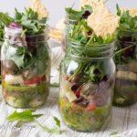 Individual Mason Jar Antipasto Kale Salad with Basil Vinaigrette