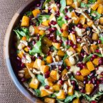 Roasted Butternut Squash Pomegranate Salad with Tahini Dressing