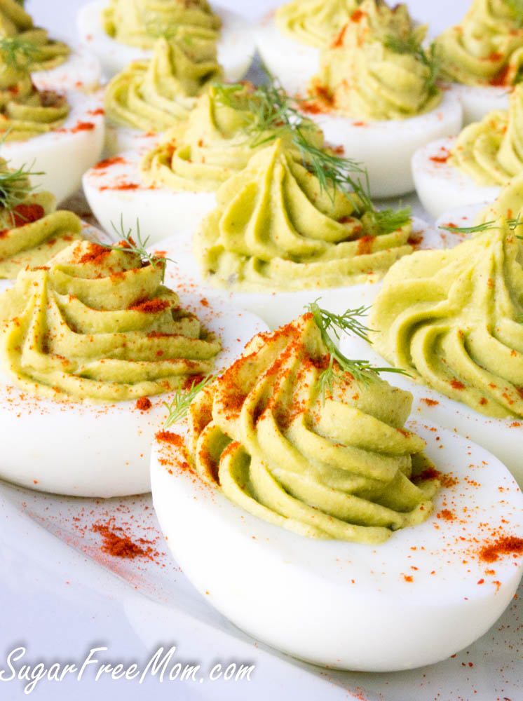 avocado deviled eggs close up