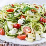 Low Carb Caprese Zucchini Noodle Pasta Salad