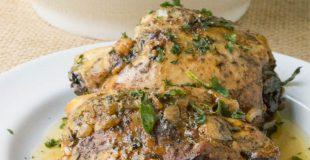Slow Cooker Balsamic Caprese Stuffed Chicken Thighs