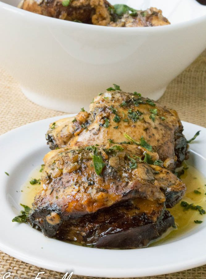 Slow Cooker Balsamic Caprese Stuffed Chicken Thighs