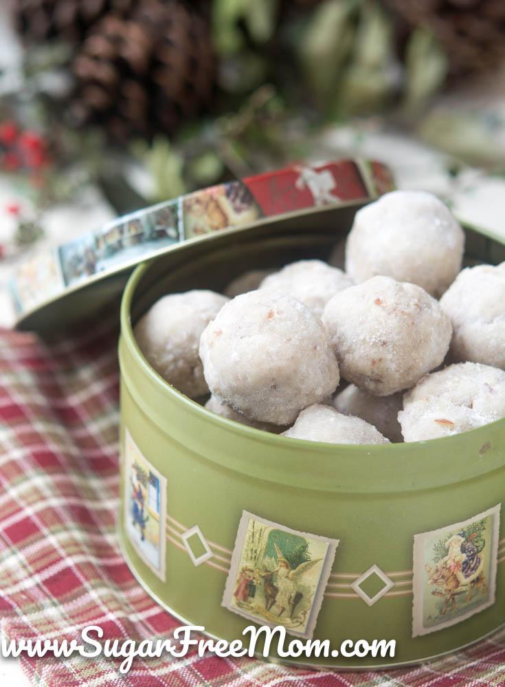 Sugar Free Paleo Pecan Snowball Cookies