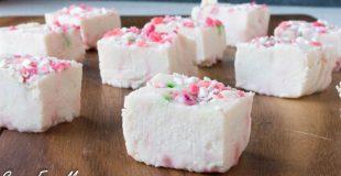 Paleo Sugar-Free White Chocolate Peppermint Fudge