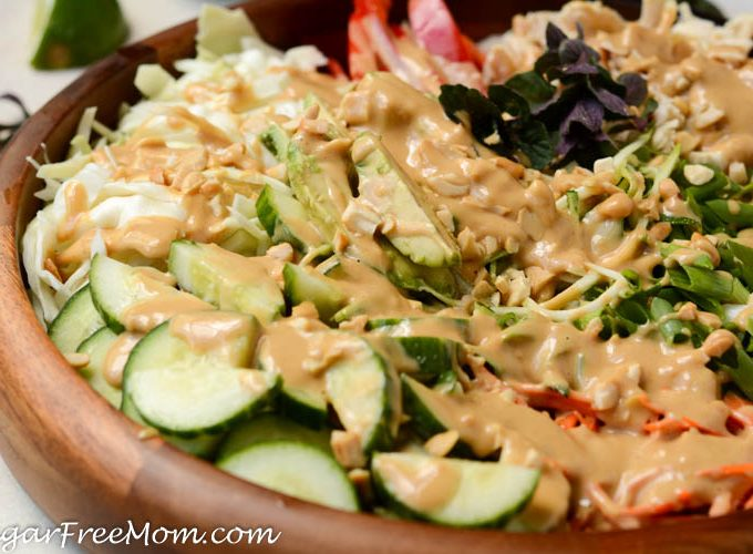 Low Carb Spring Roll Salad with Sweet Peanut Dressing