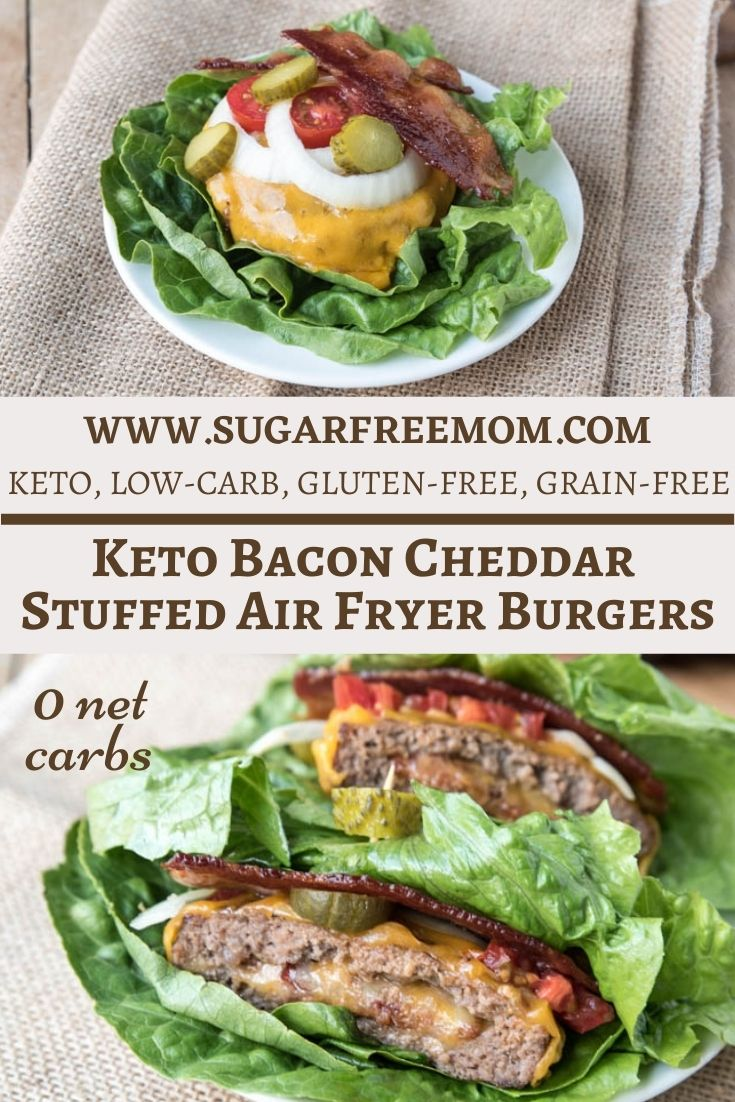 Keto Bacon Cheddar Stuffed Air Fryer Burgers