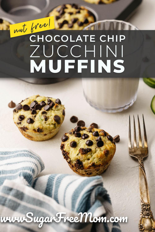Sugar Free Low Carb Keto Chocolate Chip Zucchini Muffins