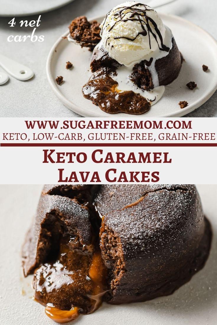 Sugar Free Keto Chocolate Caramel Lava Cakes